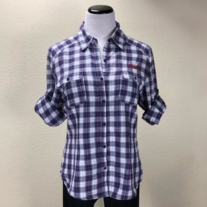 Seven7 Blue Red & White Plaid Button Down